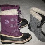 24 см стелька, канадские сноубутсы с валенком Sorel, зимние сапоги