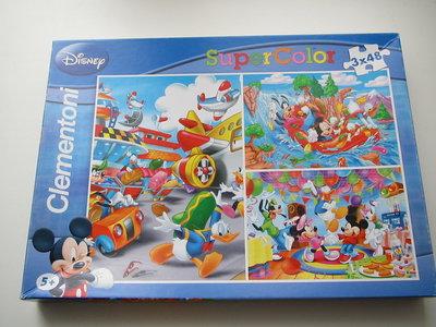 бу пазлы от диснея Super Color Mickey фирмы Clementoni 3 в 1