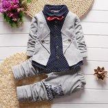 Стильный и нарядный костюм двойка с бабочкой для мальчика для праздника. Серый, синий, красный