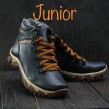 Подростковые кожаные зимние ботинки на меху, cиние, код gavk-00-00002364