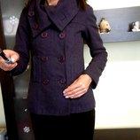 Полу пальто, пальто H&M. Размер хс-с фиолетовое демисезонное, шерсть