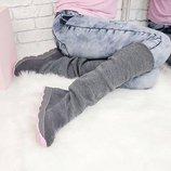 Натуральные замшевые демисезонные женские сапоги / ботинки с чулком / сапожки - чулки