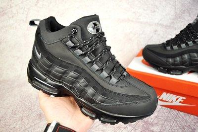 Мужские ботинки зимние NIKE Air Max 95 черные нубук 41-46р