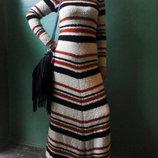 Шерстяное вязаное теплое платье в пол