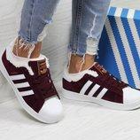 Бесплатная доставка Зимние женские кроссовки Adidas Superstar burgundy