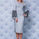 Нарядное женское платье с кружевом 3 цвета