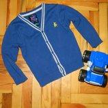 Кофта джемпер синяя на пуговицах детская на мальчика 3-4 года Rebel.