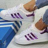 Бесплатная достака Зимние женские кроссовки Adidas Superstar white/purple