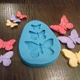 Молд для мастики выпечки , гипса, полимерной глины на 3 бабочки