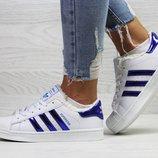 Бесплатная доставка Зимние женские кроссовки Adidas Superstar white/blue