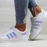 Бесплатная доставка Зимние женские кроссовки Adidas Superstar white/pearl