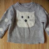 Фирменный свитер F&F малышке 3-6 месяцев состояние нового