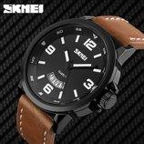 Военные противоударные мужские часы Skmei 9115 Black Brown Для настоящих мужчин