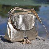 Натуральная кожа Кожаная сумка Марсель золото
