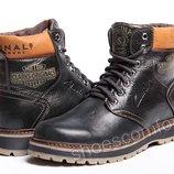 Кожаные зимние ботинки Clarks Originals Trade M - 1805 черные