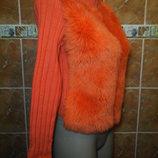 Кардиган с мехом на молнии оранжевая кофта