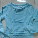 Бирюзовый теплый свитшот толстовка в винтажном стиле 6-8 лет pepperts