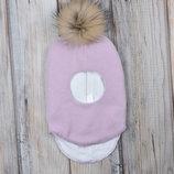 Детский шлем зимняя шапка для девочек с мехом 38 40 42 44 46 48 50 52 54 лаванда