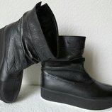 Prima зима -2019 Стильные женские сапоги угги кожа чёрные мех ботинки Софи