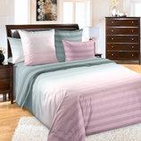 Туманное утро розовое, постельное белье перкаль 100% хлопок