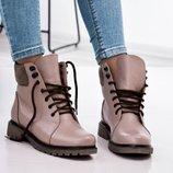 Ботинки, натуральная кожа, со шнуровкой, деми и зима, визон