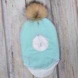 Зимний шлем зимняя шапка для девочки и для мальчика с натуральным мехом 38 40 42 44 46 48 50 52 54