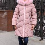 Детское зимнее пальто Сафина Тм Nui Very с натуральным мехом. Пудра, Размеры 110- 158