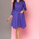 Платье-Рубашка с накладными карманами L-121 сиреневый