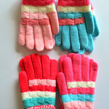 Детские шерстяные перчатки для девочки - длина 14 см