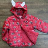 Теплая демисезонная куртка для девочки на синтепоне, подкладка мех