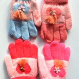 Детские шерстяные перчатки для девочки одинарные - длина 12 см