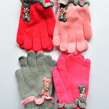 Детские шерстяные перчатки для девочки - длина 15 см