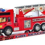 Большая пожарная машина,29 см,выдвижная лесница,инерционные машинки