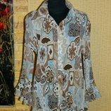 Блуза гофра коричневая с бежевым и голубым Cato размер 48-50