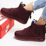 Nike Air Force ботинки женские зимние бордовые 6405 цвета