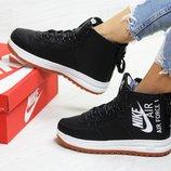 Nike Air Force ботинки женские зимние черные с белым 6406 цвета
