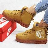 Nike Air Force ботинки женские зимние горчичные 6407 цвета