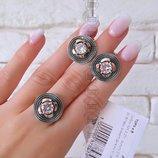 Серебряный набор тора, срібний чeрнeний набір, черненый набор ,черненые серьги кольцо