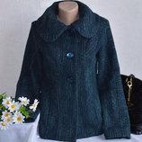 Брендовое зеленое шерстяное демисезонное пальто полупальто с карманами per una турция Размер 10
