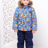 Комплект куртка и полукомбинезон Мальчик принт/2 зимний комбинезон