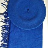 Комплект чешский фетровый берет tonak fezko и палантин в тон синий