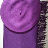 Комплект чешский фетровый берет tonak fezko и палантин в тон фиолетовый