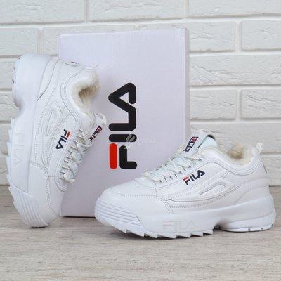 2794b61d6 Кроссовки кожаные зимние Fila Disruptor 2 White женские Фила белые на меху