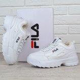 Кроссовки кожаные зимние Fila Disruptor 2 White женские Фила белые на меху