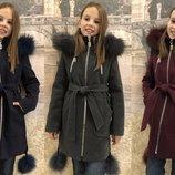 Детское зимнее пальто Зима-19 с мехом, р.34-42