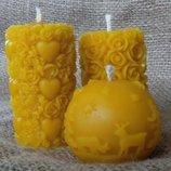 Медовая свеча из пчелиного воска, натуральный состав, ручная работа