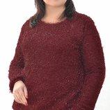 Джемпер травка, размеры 42-58, цвета марсала, пудра, голубой, изумруд, черный