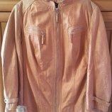 Красивая кожаная женская курточка Samoon by Gerry Weber, размер 52, 2ХЛ