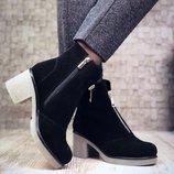 Женские зимние ботинки натуральная замша и кожа