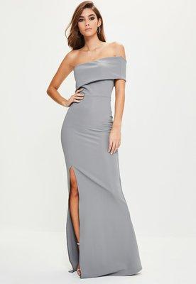 72cb4c4bdfc Шикарное вечернее серое платье макси на одно плече с разрезом спереди  missguided